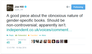 Joe Hill's Tweet
