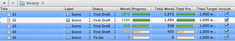 Progress Bars in Scrivener for Scrivener Saturday - Using Targets