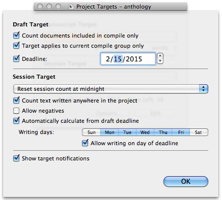 Scrivener Saturday - Using Targets Project Target Settings