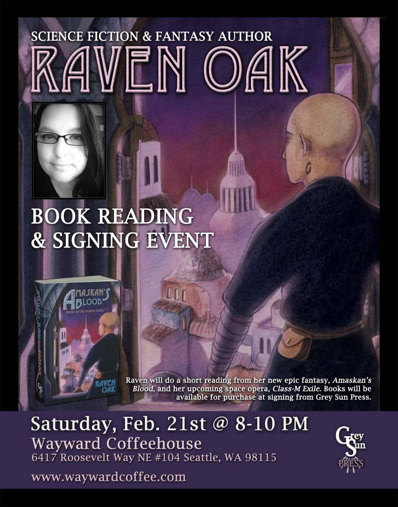 Book reading & signing event for Amaskan's Blood by Raven Oak