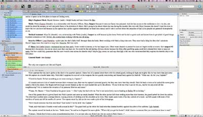 scrivener saturday split screen uses