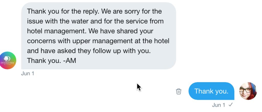 doubletree hotel tweet