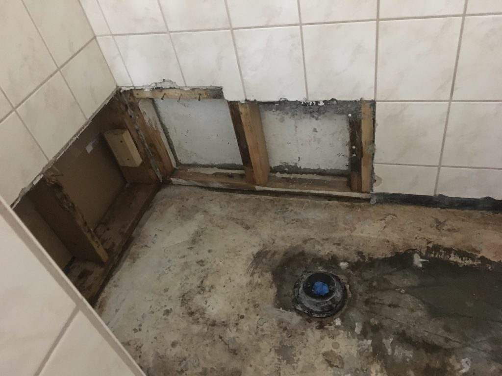 Partial removal of damaged bathroom